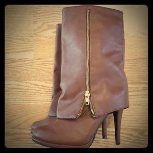 Brown faux leather boots 6.5